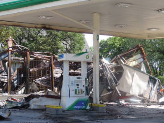 BP gas station Sunday afternoon after the fire. (photo by Karen Stokes)