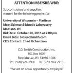 C.D. Smith Requesting BIDs for UW-Madison Meat Science & Muscle Laboratory