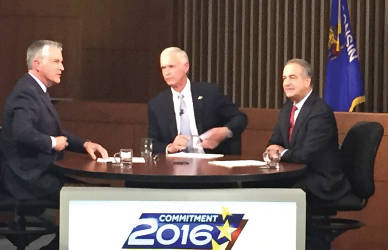 "Moderator Mike Gousha, Sen. Ron Johnson and Russ Feingold have a 90 minute ""conversation"" during the WISN and Marquette Law School senate debate. (Photo by Dylan Deprey)"