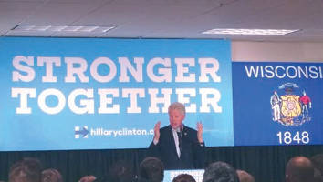 """""""Bill Clinton visits the International Electrical Union Workers building in West Allis, Wisc to encourage early voting for Hillary Clinton"""". (photo by Mrinal Gokhale)"""