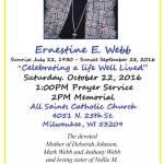 Ernestine E. Webb Prayer Service and Memorial Oct 22nd