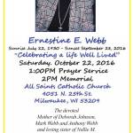 Ernestine E. Webb Prayer Service and Memorial Oct 22nd