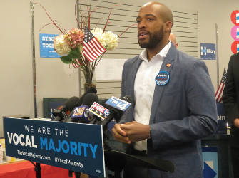 State Rep Mandela Barnes addresses to the room. (photo by Karen stokes)