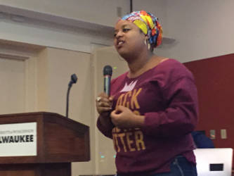Monique Liston explores the power of Hip-Hop lyrics during the discussion. (Photo by Dylan Deprey)