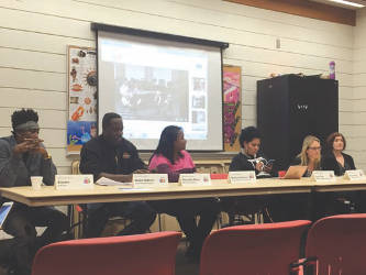 Panelists included Cincere, Robin Adkins, Bailey Coleman, Lena Cole, Teresa Drews and Anna Donovon. (Photo by Dylan Deprey)