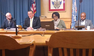 """The Milwaukee Common Council Public Safety Committee meets to discuss Alderman Michael Murphy's smokeless tobacco ban in Milwaukee sports venues."" (Photo by Mrinal Gokhale)"