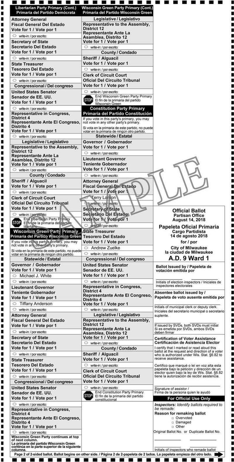 Notice of Partisan Primary and Sample Ballots August 14, 2018