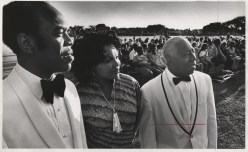 Among the artists at Thursday's Music Under the Stars concert accenting black American culture were (from left) Benjamin Matthews, Rosetta Redman and J. Howard Offutt. The evening show, free to the public, was in Lincoln Park. Friday, July 16 1971.