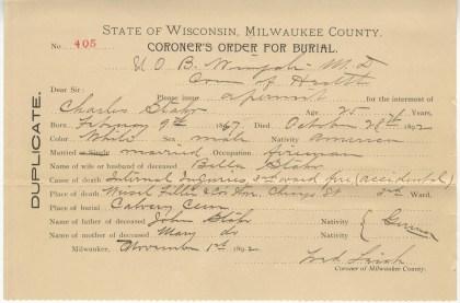 Coroner's Order for Burial