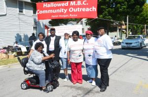 Pictured (left photo, from left) are: Dorothy McBride, Dorothy Miller, Dr. John Miller, Darnell Bowles, Minister Margie Jackson, Merdis Morgan and Rev. Aaron Morgan.