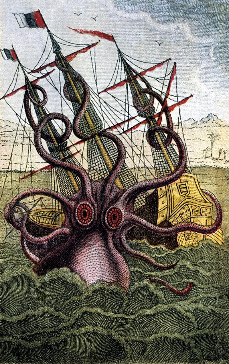 "Anonymous. Zoology:. Octopus. ""Giant octopus attacks a sailing ship"". Copper engraving, coloured. From: Denys-Montfort, Histoire naturelle generale et particulaire des mollusques, Paris 1805."