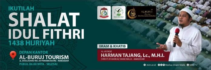 Spanduk Shalat Idul Fithri 1438 H Bersama Ustadz harman Tajang