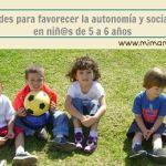 Actividades para favorecer la autonomía y socialización en niños de 5 y 6 años.