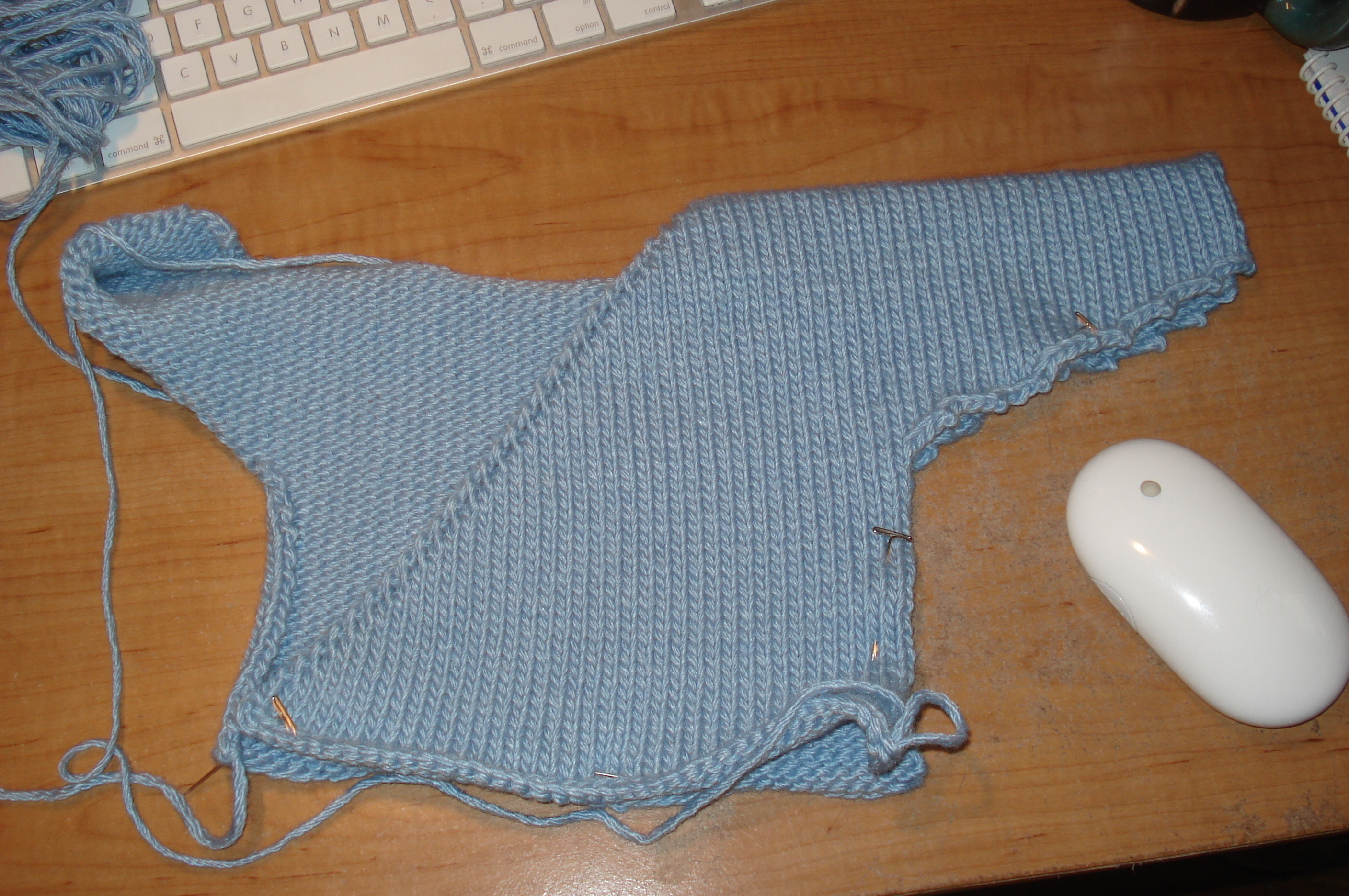 Baby Kimono Sweater. One side left to knit.