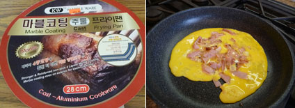 KW Marble Ware with eggs and ham cooking