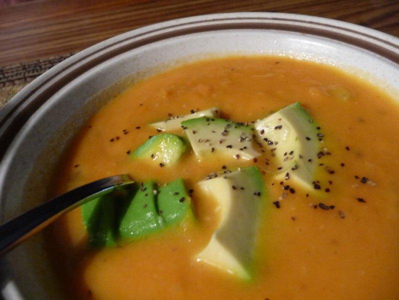 Sweet Potato Soup with Avocado