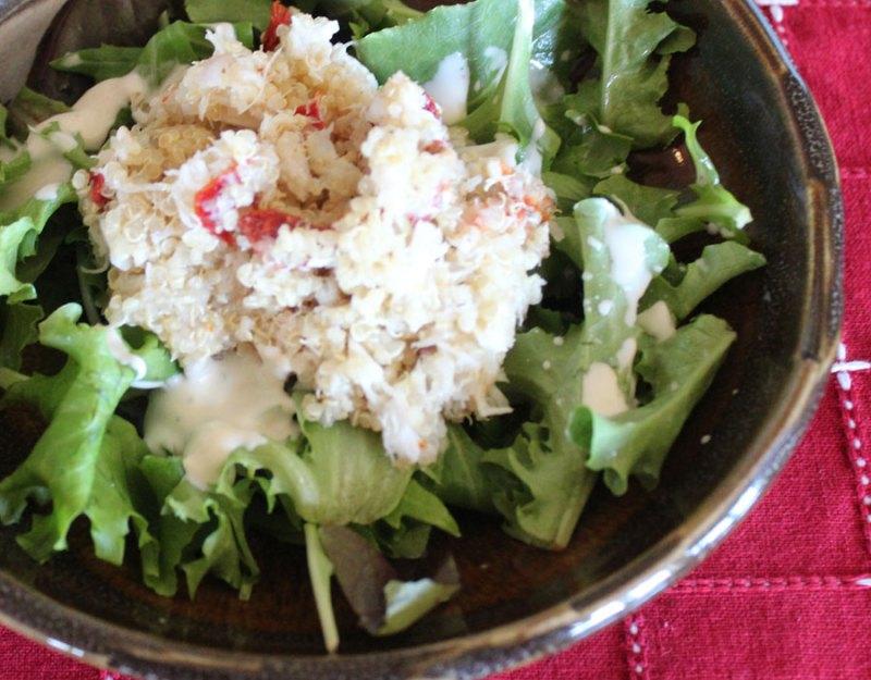 Crab adn Quinoa Salad on Greens