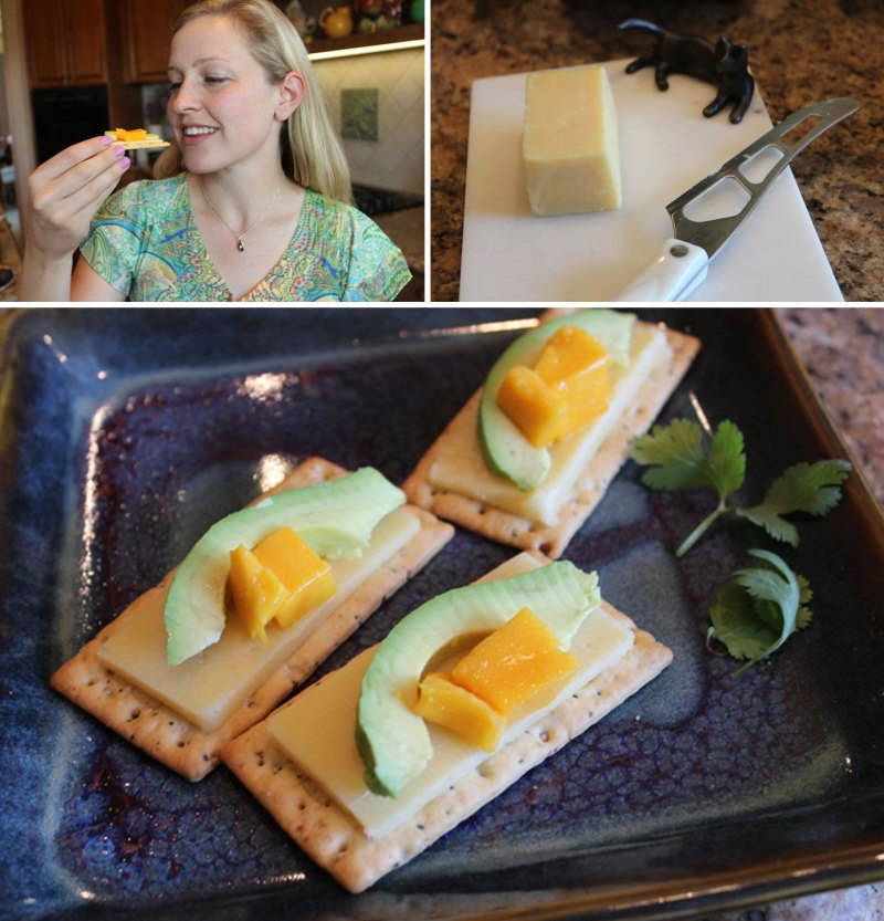 Kerrygold Cheddar Cheese with avocado and mango on crackers