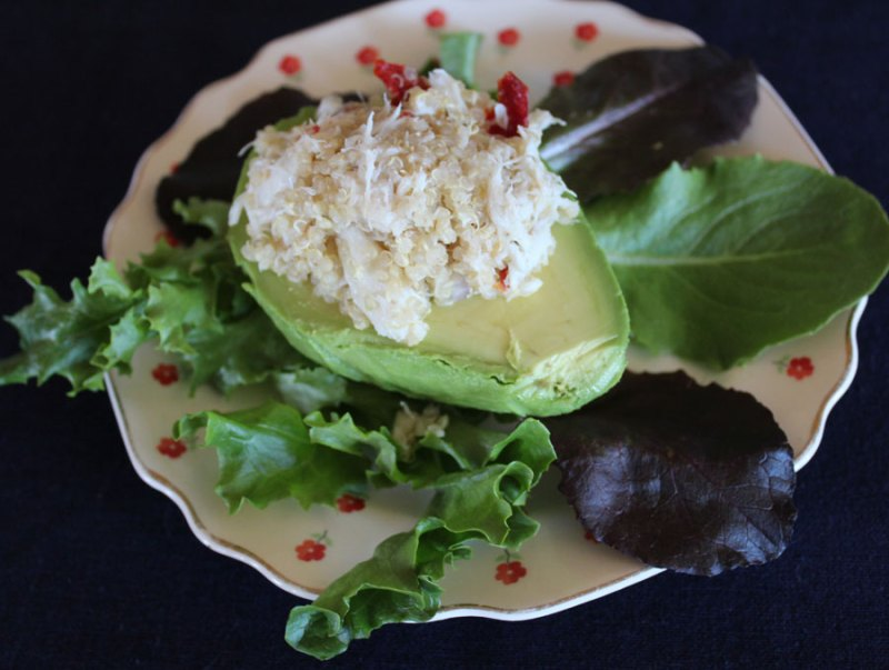 stuffed avocado with crab and quinoa