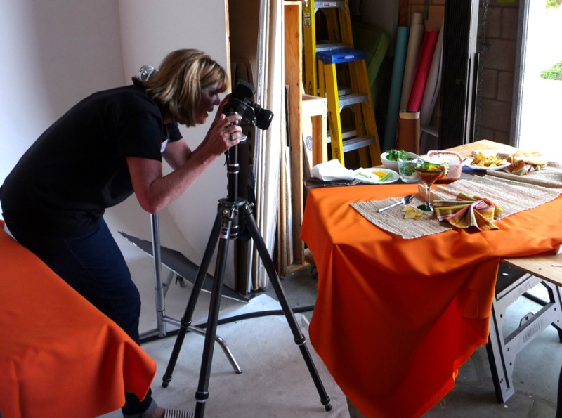 photographing a food layout