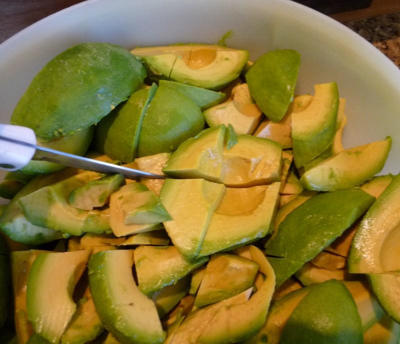 chopping avocados