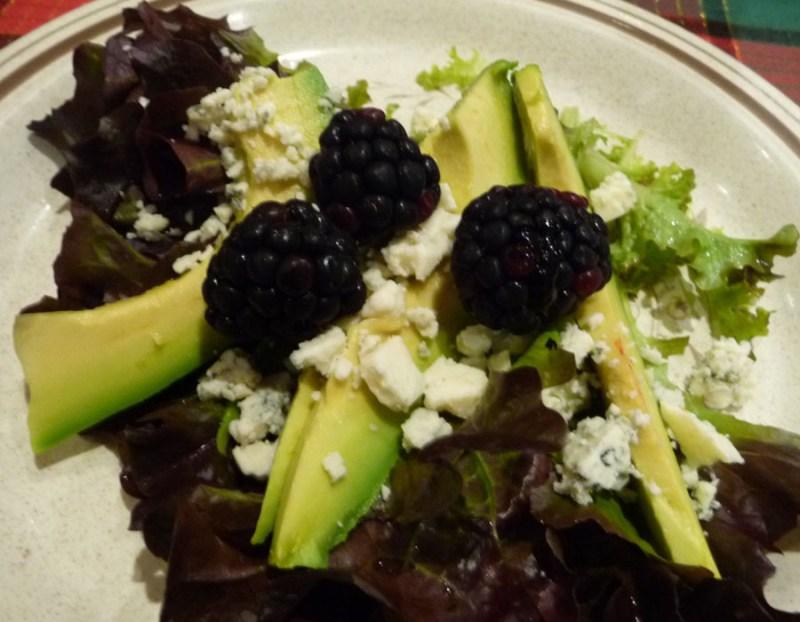 blackberry Fuerte avocado salad