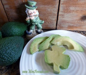 Leprechan1 and shamrock made of avocado