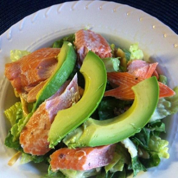 salmon salad with avocado