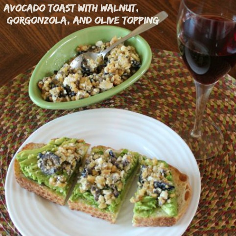 avocado-toast-with-walnut-gorgonzola-olive-toppping