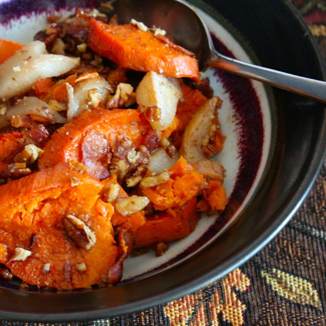 baked yams and pears with bourbon, bacon, pecans and maple syrup