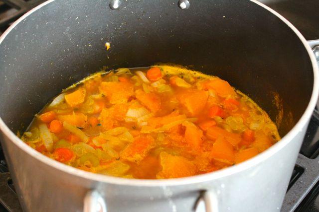 veggies in pot