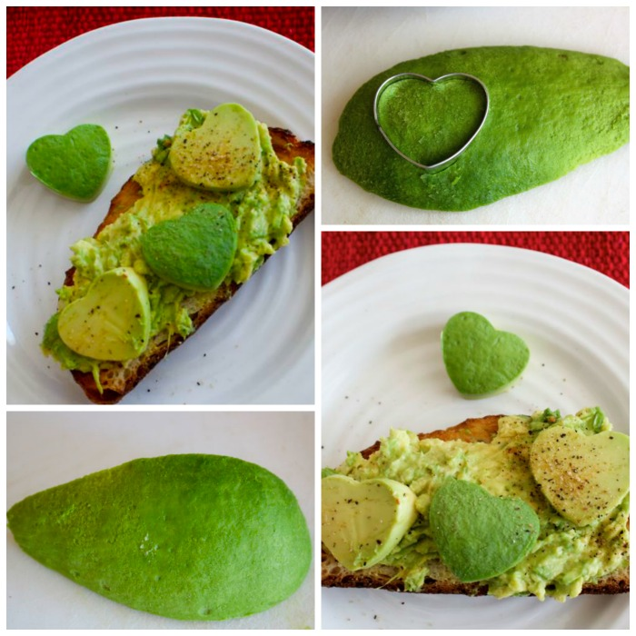 making Valentine avocado toast