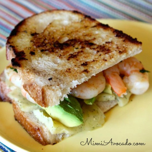 Shrimp and Avocado Grilled cheese