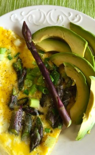 purple asparagus breakfast