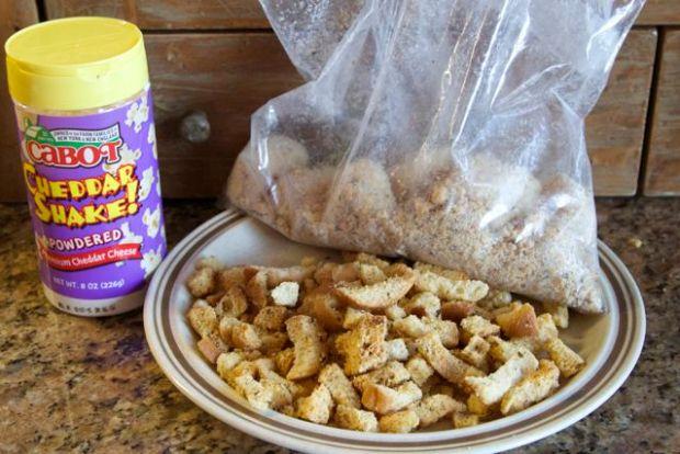 scallops, breadcrumbs, cheese