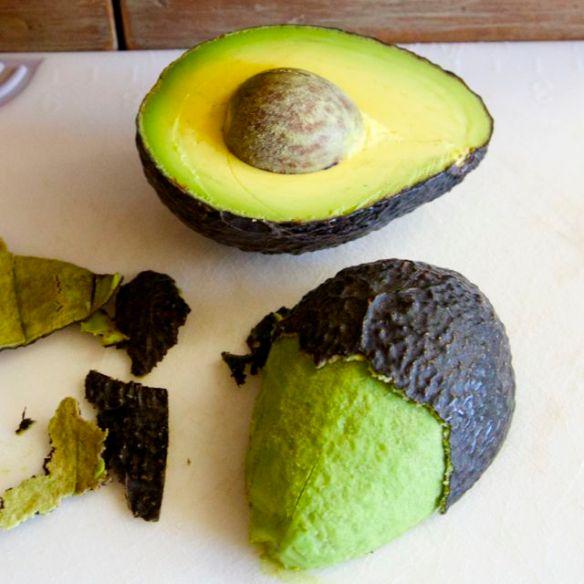 peeling an avocado