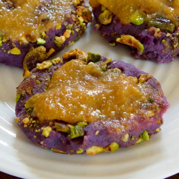 sweet potato patties with marmalade
