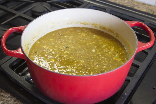 lentil, crab, and corn soup