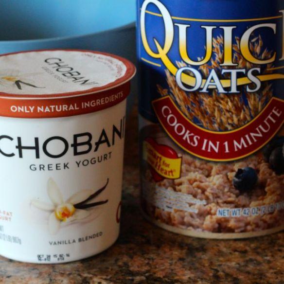 Chobani Greek yogurt and quick oats