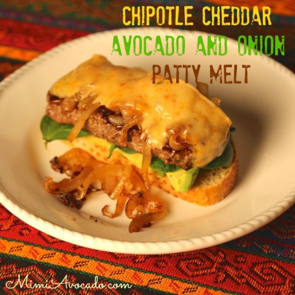 cheddar, avocado, and onion patty melt