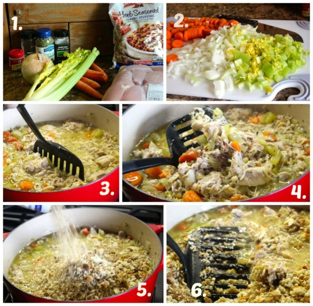 numbered steps for Cheaters' Thanksgiving Casserole