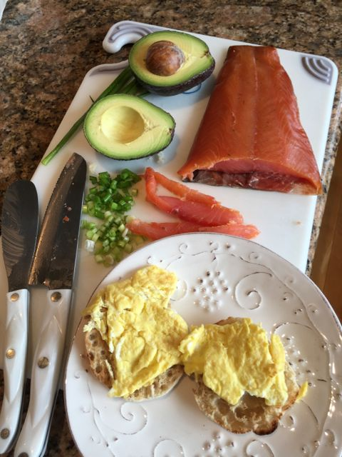 Fuerte avocados and smoked salmon