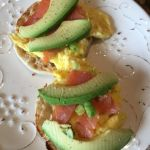 Fuerte avocados with smoked salmon and eggs on an English muffin