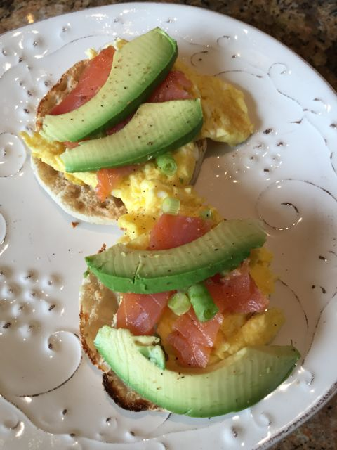 avocado with smoked salmon and scrambled egg
