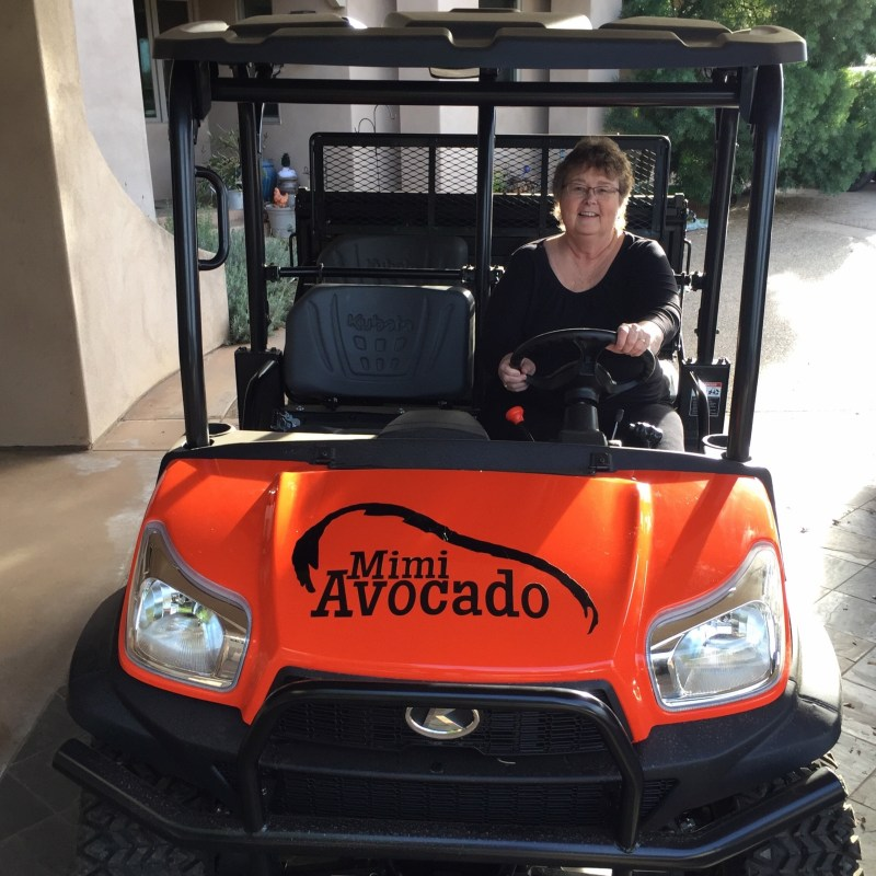 Kubota RTV with Mimi Avocado logo on it