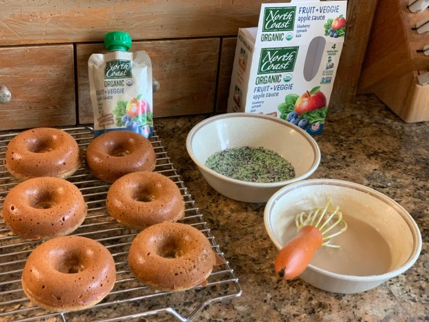 Glazing baked donuts