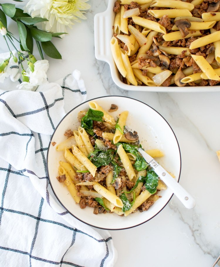 Easy and nostalgic Butter Parmesan Pasta recipe that you make with what you have in your fridge! This easy pasta recipe will soon become a favorite in your house. With simple organic ingredients, this flavorful pasta makes a big batch so you can have leftovers that are just as good reheated as the first night you made it! #pasta #italianpasta #organicpasta #organiccooking #organicdinner #dinnerrecipe #dinnerrecipes #easydinner