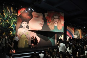 "3-Runway Mural by PIERRE MORNET, ""Trois Femmes"" Photo by Stephane Feugere (via wwd.com)"