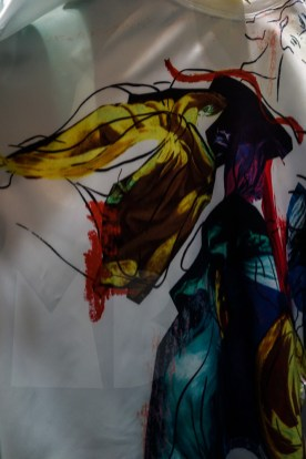 detail of print made with a fashion illustration (photo Mimi Berlin)
