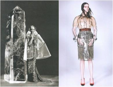 left: Schiaparelli, Harper's Bazaar – February 1935, photo by Andre Durst. right: Prada F/W 2002-2003, photo by David Sims.